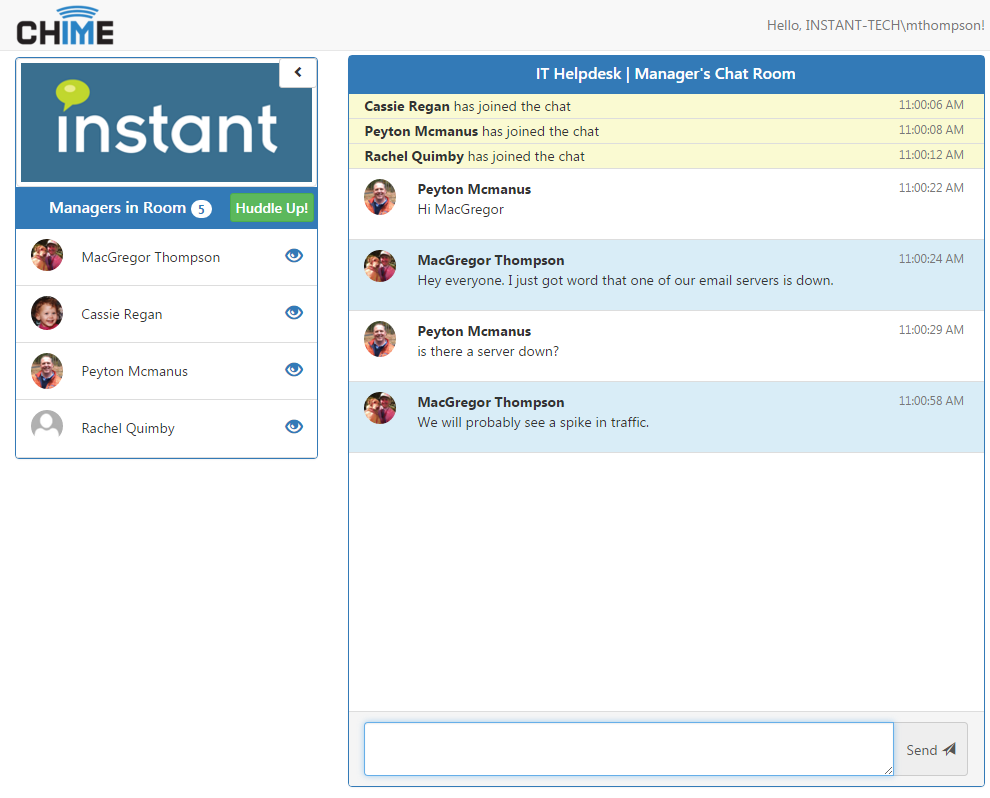 Persistent chat rooms for agents and managers have been added for back channel communication among agents and managers