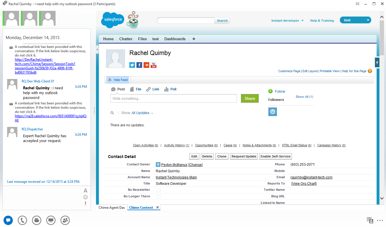 CRM integration built right into Chime! This is an example of Chime with Salesforce.